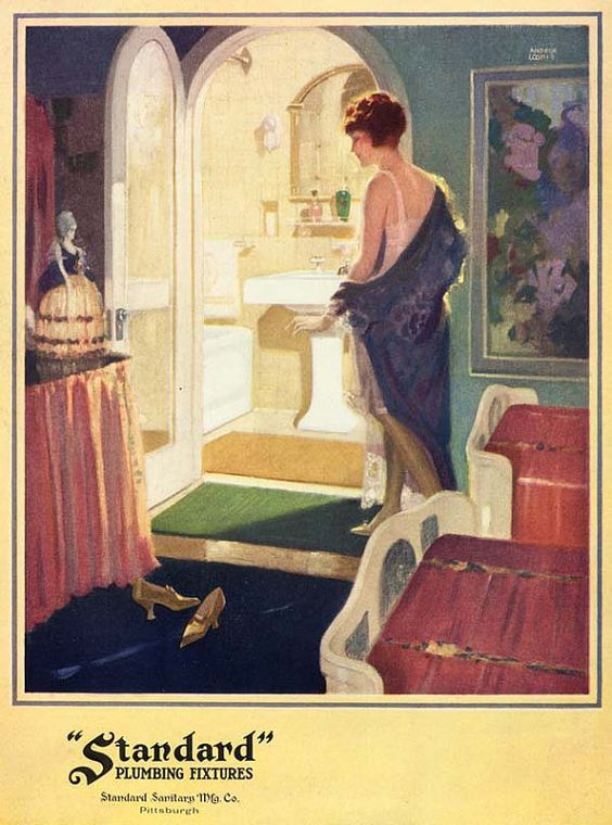 Vintage 1920 S Deco Flapper Girl Powder Room Bath Bathroom