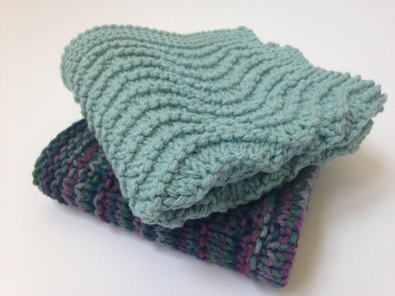 Two Knitted Wash Cloths by DamicoCrafts on Etsy