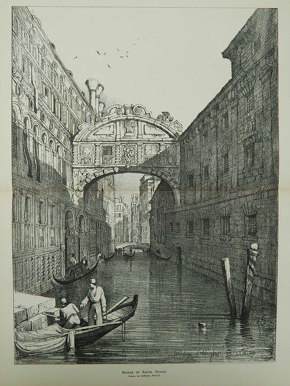 Bridge of Sighs in Venice, Italy, 1892. Samuel Prout. Original