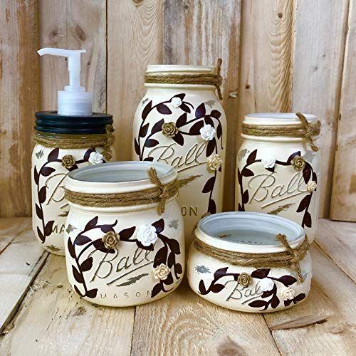 Ivory Mason Jar Bathroom Accessories Set 5 Piece Painted Https