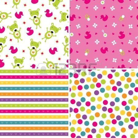 Conjunto de cuatro patrones de fondo de estilo retro sin costura para las ni�as en rosa y verde photo