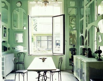 mint green eating area: Dining Room, Mirror Mirror, Mint Green, Green Walls, Green Kitchen, Mint Mirrors, Wall Of Mirrors, Green Rooms