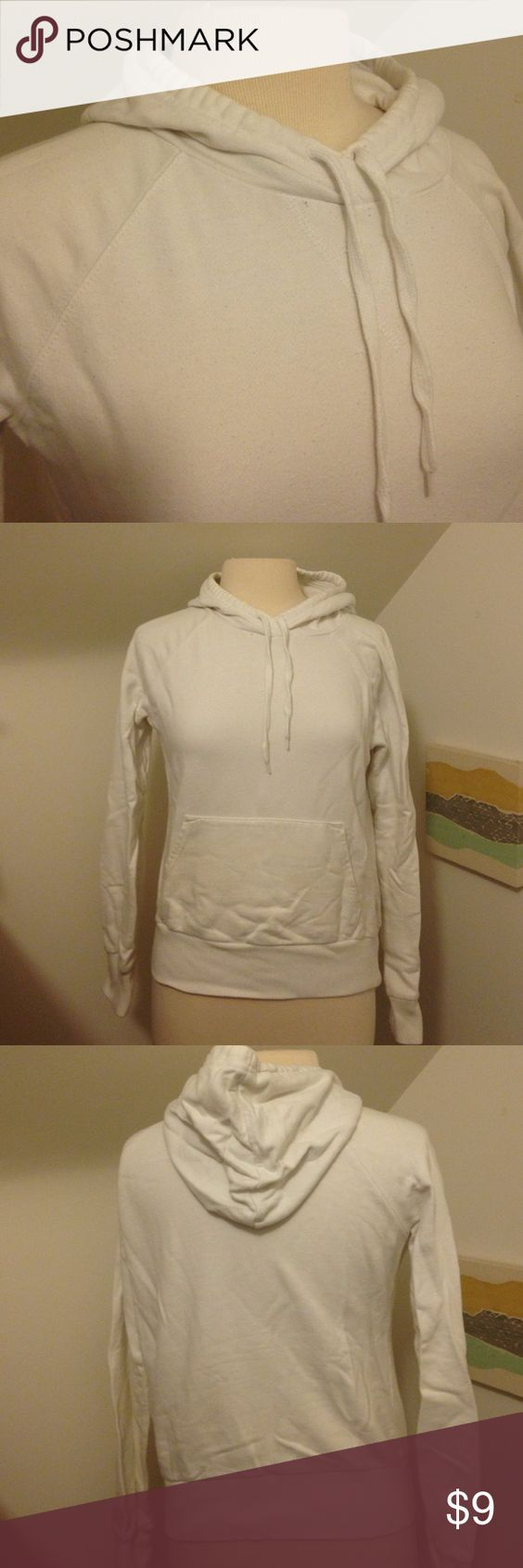 White hoodie Plain white sweatshirt with hood and front pocket. No stains, great condition. No size, probably a small or xsmall H&M Sweaters
