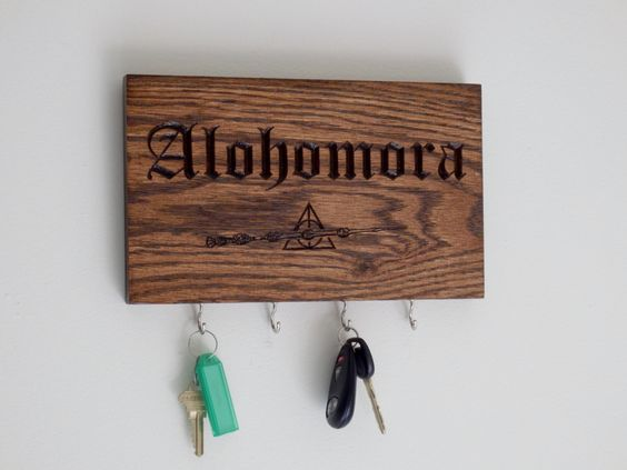 Alohomora key holder harry potter deathly hallows symbol for Wooden elder wand for sale