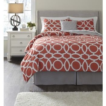 Clairette Coral - King Top Of Bed Set