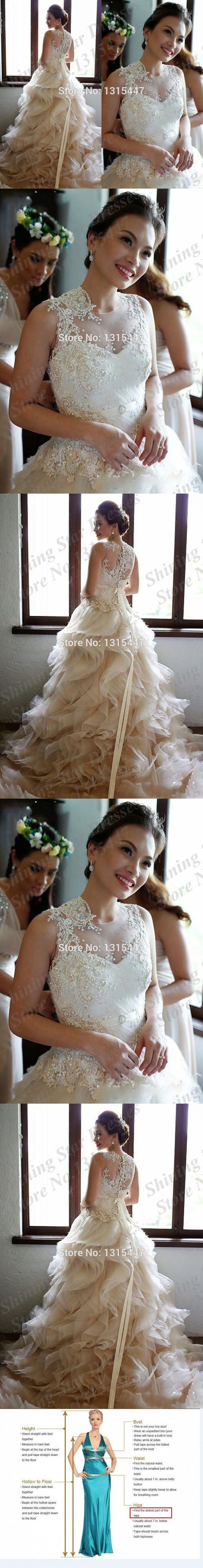 Vestido de noiva princesa vintage wedding dresses 2015 new casamento o-neck ruffled bridal dresses formal gowns robe de mariage $279.99