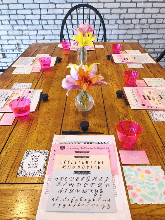 styled calligraphy class with cocktails