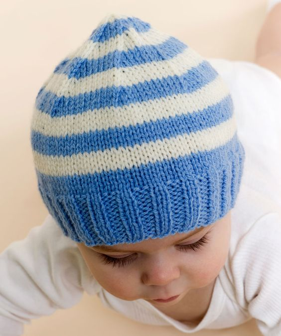 Baby Knits For Beginners Free Patterns : Free Knitting Patterns Baby Hats Stripe Knit Baby Hat Knitting Pattern Re...