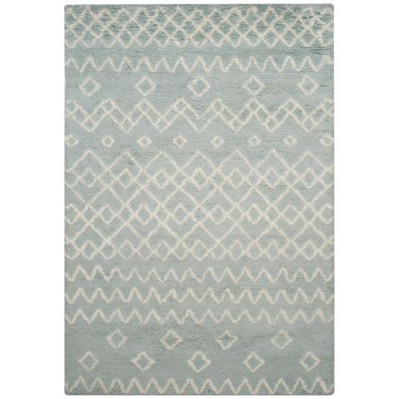 Safavieh Casablanca Blue Ivory 6 Ft X 9 Ft Area Rug Csb806b 6 The Home Depot Geometric Area Rug Hand Tufted Rugs Blue Area Rugs