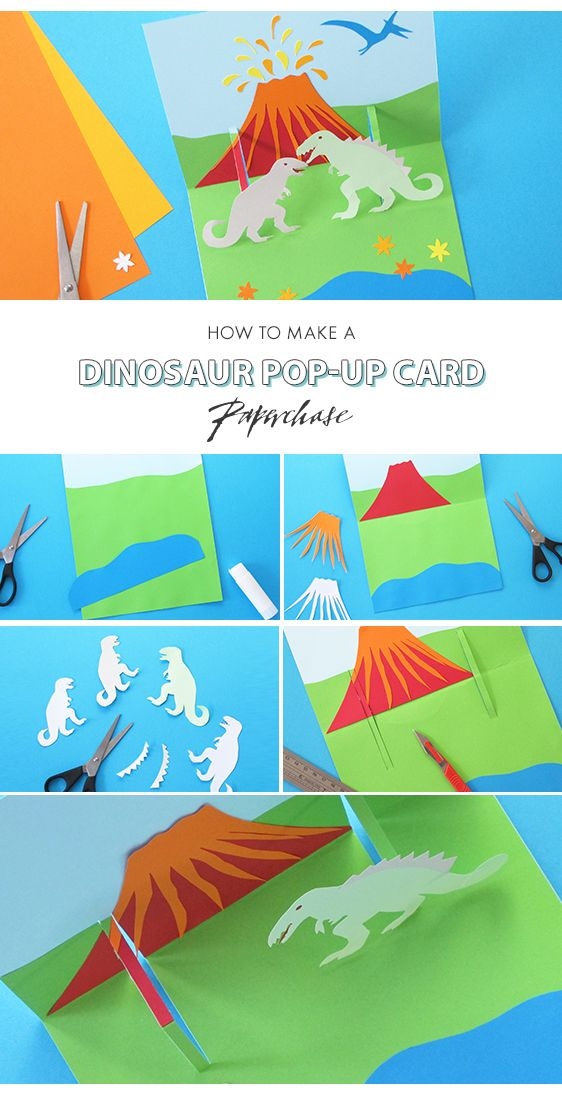 How To Make A Dinosaur Pop Up Card With Paperchase Dinosaur Theme Party Dinosaur Cards Dinosaur Crafts