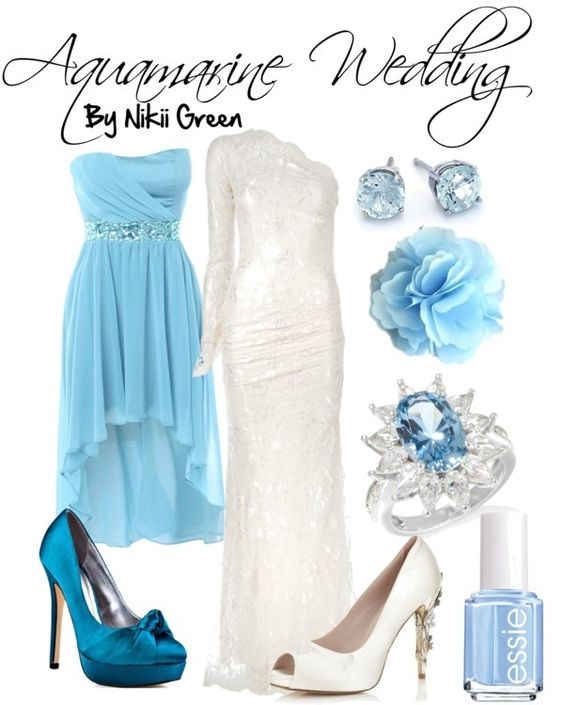"""Aquamarine Wedding (March)"" by nikiigsings ❤ liked on Polyvore"