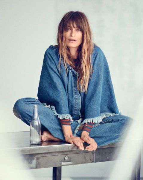 Caroline de Maigret head to toe Marques Almeida denim: