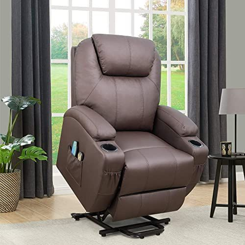 New Flamaker Power Lift Recliner Chair Pu Leather Elderly Massage Heating Ergonomic Lounge Chair Living Room Classic Single Sofa 2 Cup Holders Side Pockets In 2020 Lounge Chairs Living Room Home