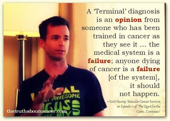 """Such a great point! Kevil Murray, Testicular Cancer Survivor; on Episode 11 of """"The Quest for the Cures... Continues"""" states: A """"Terminal"""" diagnosis is an opinion from someone who has been trained in cancer as they see it... the medical system is a failure; anyone dying of cancer is a failure [of the system], it should not happen. Please re-pin to help us spread the truth & educate others! // The Truth About Cancer"""