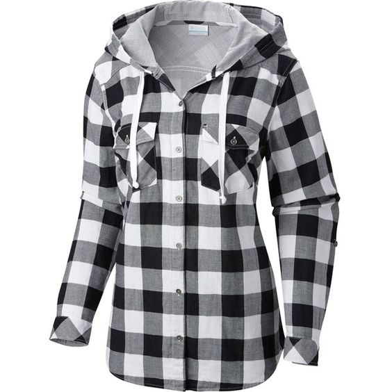Columbia Times Two Hooded Shirt - Long-Sleeve (£36) ❤ liked on Polyvore featuring tops, hoodies, flannel shirts, long flannel shirts, button up shirts, hooded flannel shirt and long sleeve button up shirts
