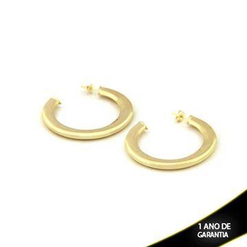 Mostrar detalhes para Brinco Argola Tubo Achatado Liso - 0209418