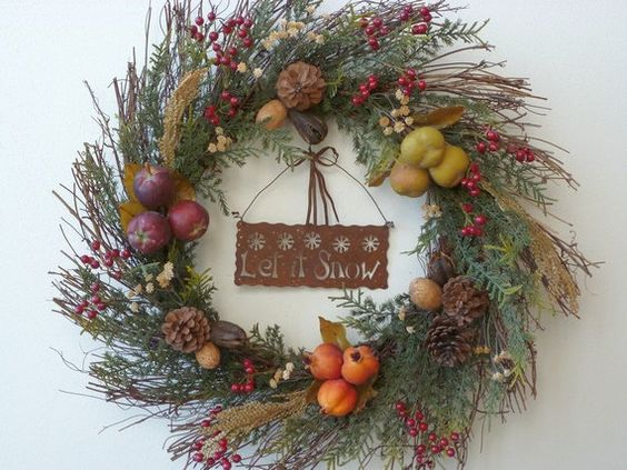 Twig Christmas holiday wreath silk fir let by EnchantedForestByDee, $37.00