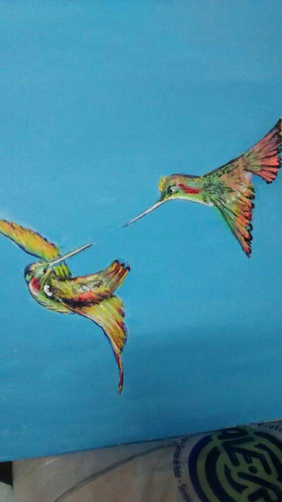 Mamy y sus colibríes.
