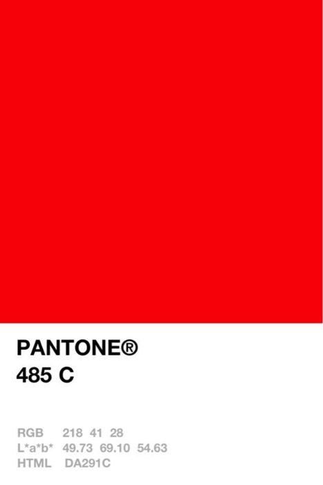 A bright and shocking red orange paint color: Pantone 485 C