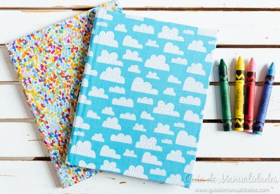 ¡Tus cuadernos lucirán increíbles con esta idea! Busca tus telas favoritas que…