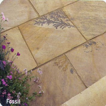 Pavestone Paving-Riven Sandstone-Golden Fossil-PAVING SLABS, MIXED SIZE (20.7m2)