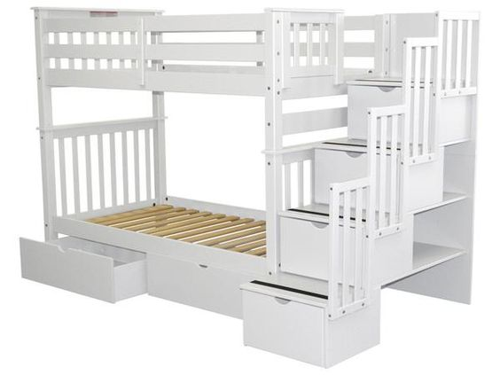 Bunk Beds Tall Twin Over Twin Stairway White 2 Drawers Bunk