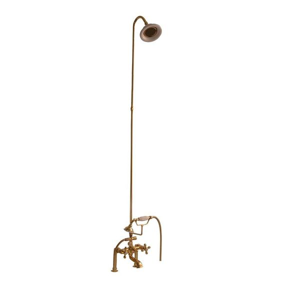 Barclay Products 3-Handle Claw Foot Tub Faucet with Riser, Hand Shower and Showerhead in