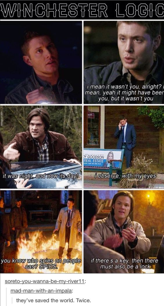 TWICE. TWICE.  Also, Winchester logic = me and my best friend's logic.