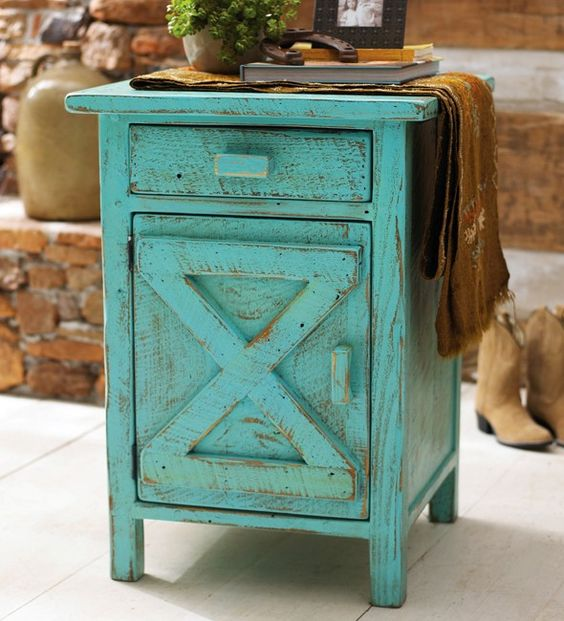 Decorating With Distressed Furniture: Turquoise, Reclaimed Wood Furniture And Night Stands On