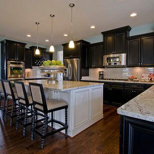 Dark cabinets light island kitchen ideas pinterest for Dark kitchen cabinets with light island