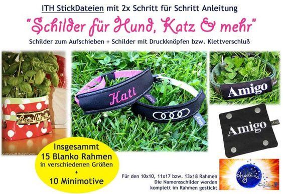 """ITH Stickdatei  """"Schilder für Hund, Katz und mehr"""""""