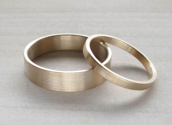 Eco-friendly handmade wedding band / ring set - recycled 14k yellow, white or rose gold - Satin finish Modern Wedding Ring - Unconventional, via Etsy.