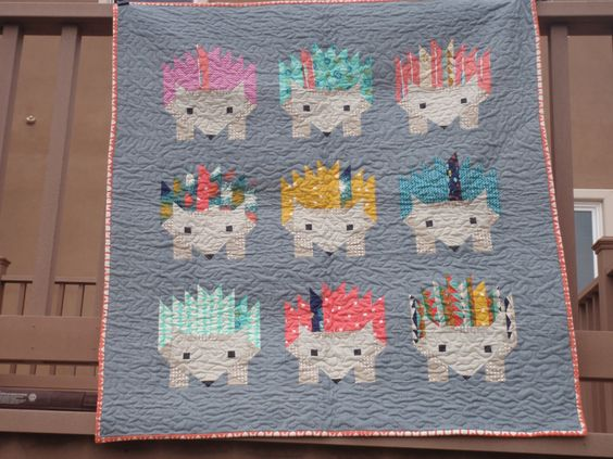 Hazel Hedgehog Elizabeth Hartman Quilt Kit with Modern Cotton and Steel Fabrics by PrivateSourceQuiltin on Etsy: