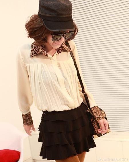 Apricot Korean Style Elegant Sexy Easy To Match Leopard Print Lapel Chiffon Shirt [TX2108550] - $18.05 : Wholesale Clothes, Cheap Clothes Online