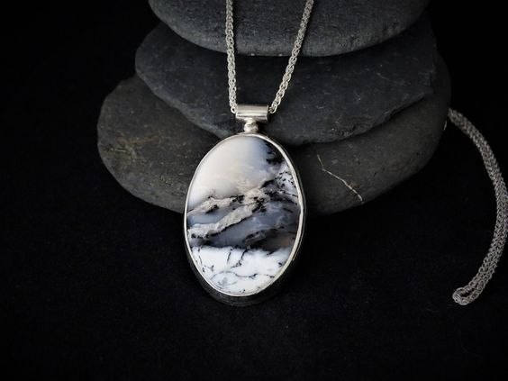 healing crystals 1960 Dendritic Agate pendant Dendritic Agate Pendant Merlinite Sterling silver Dendrite Opal Necklace