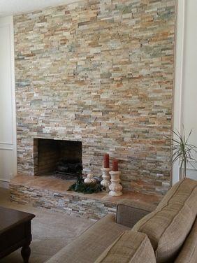 Golden Honey Ledger Stone Quartz Fireplace Pinterest