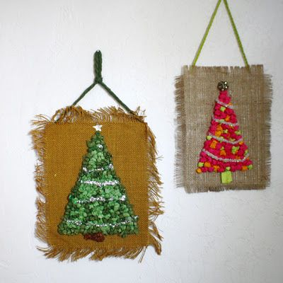 Retro tissue paper Christmas tree craft