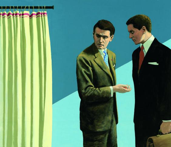 Bild:Christian Brandl: Das Gespräch, 2013, Öl auf Leinwand, 120 x 140 cm