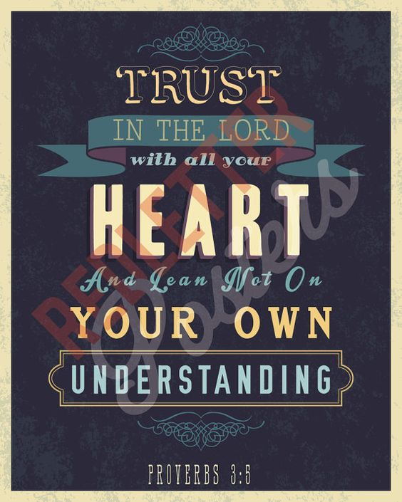 Trusting In The Lord Quotes: Proverbs 3:5 Bible Verse Retro Vintage Typography Poster
