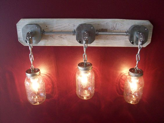 mason jar light looks like it came out of a seacoast cottage in a Maine (ebay)