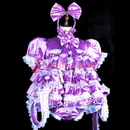 pink PVC lockable Sissy Maid Vinyl dress full-long unisex CD//TV Tailor-made