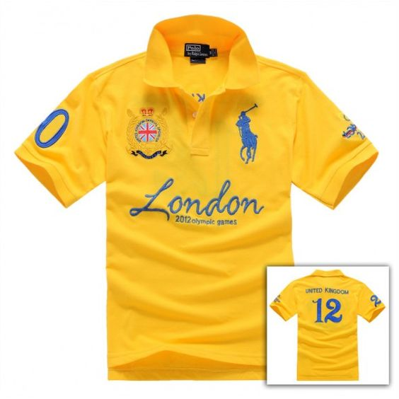 Ralph Lauren Blue Big Pony London Olympic Symbol Yellow Polo http://www.