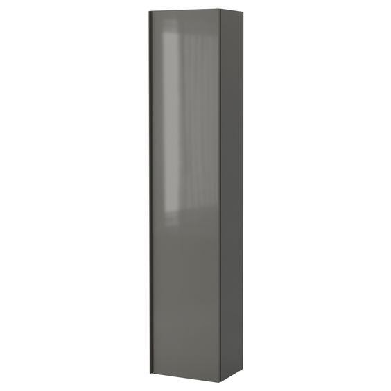 Badkamer badkamerkast 40 cm diep : GODMORGON High cabinet, high gloss ...