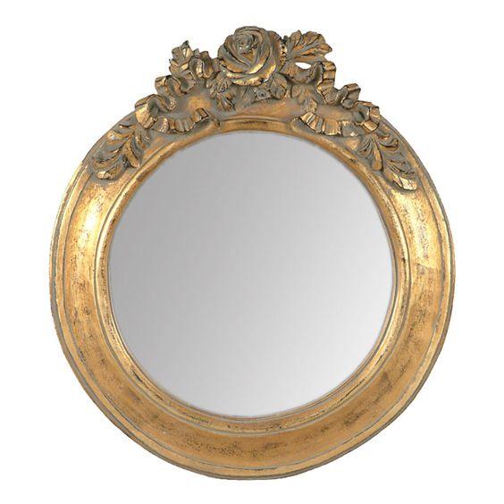 Miroir rond dor en r sine avec moulure roses ambre for Le miroir d ambre