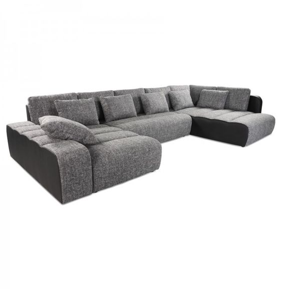 canap en u convertible panoramique 39 masta 39 noir tissu chin 1700 sectional sofas. Black Bedroom Furniture Sets. Home Design Ideas
