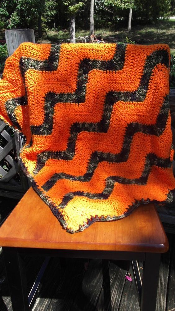 Camo and Bright Orange Baby Car Seat Blanket for Baby Boy/ Baby Boy baby Shower…
