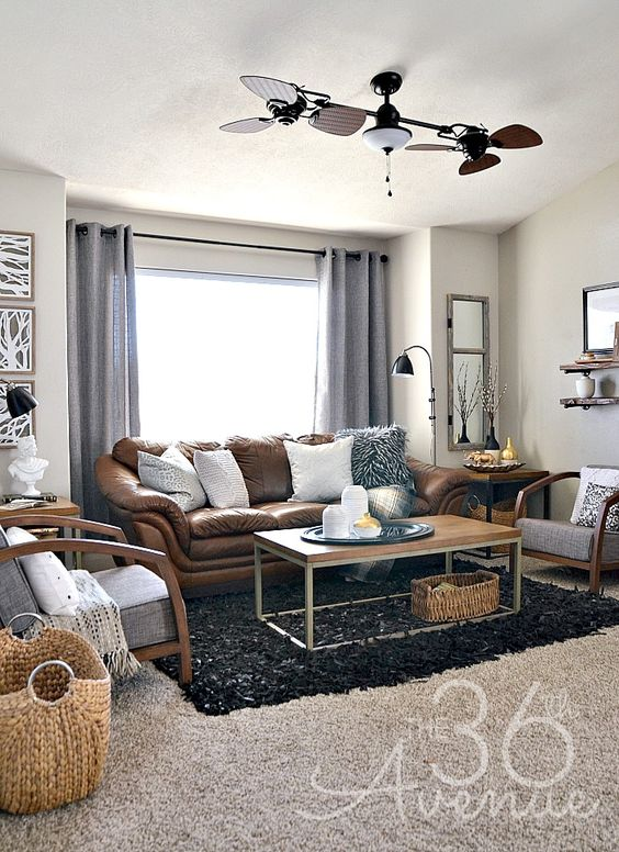 Home decor neutral living room industrial brown for Neutral living room decor