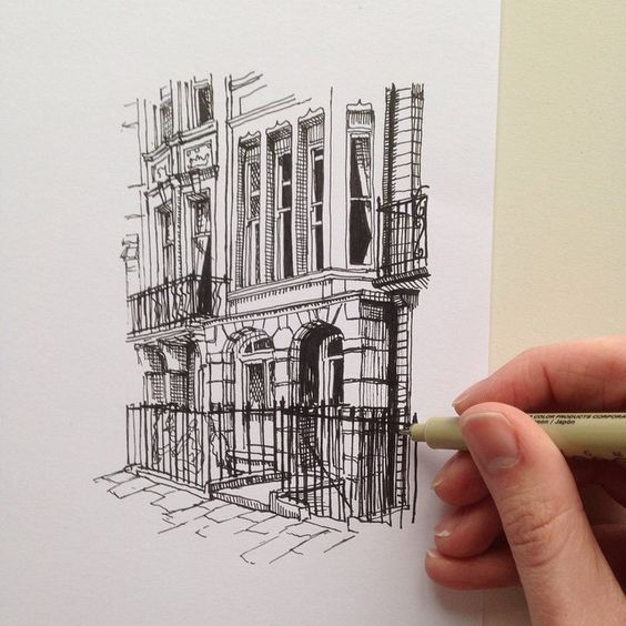 Arkitektur arkitektur sketch : Another quick sketch. #art #drawing #pen #sketch #illustration ...