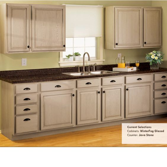 , Brushed Nickel pulls, & Java Stone countertops with a neutral stone ...