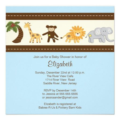 Jungle Safari Animal Boy Baby Shower Custom Invites